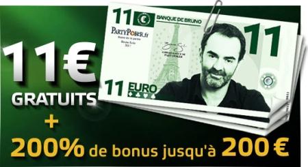 bonus 11 euros party poker